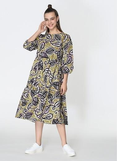Loves You Yaprak Desenli Kesikli Poplin Elbise Sarı